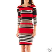 Robbie Bee 3/4-Sleeve Striped Sheath Mood Dress Size L Msrp $60.00