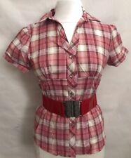 women's Short Sleeve Plaid Check Belted Shirt Premium Stretch Diamond button