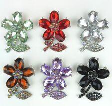 """Women's Rhinestone Flower Brooch Pin Silver 2.25"""" New"""