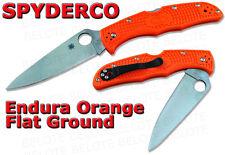 Spyderco ORANGE Endura 4 Flat Ground Plain Edge Knife NUMBERED C10FPOR
