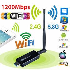 1200Mbps Dual Band 2.4GHz 5GHz Wireless USB 3.0 WiFi Adapter 802.11AC w/Antenna