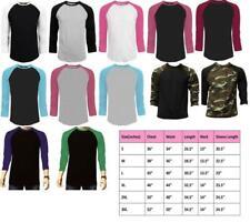 Long Sleeve Plain T-Shirt Baseball Tee Raglan Jersey Sports Men's Tee
