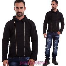 Felpa uomo giacca zip maniche lunghe casual nera giubbotto giubbino nuova  A15691 ae1a1769fd1