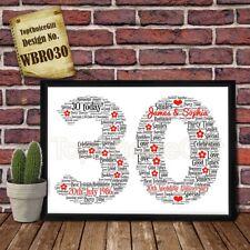 30th Wedding Anniversary Personalised Present Print wordart greeting poster gift