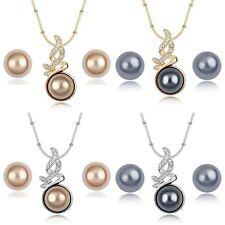 Schmuckset Ohrringe + Halskette Weißgold oder Rotgold mit Perlen Hochzeit Feier