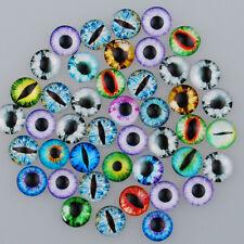 Mixed Dome Round Flatback Dragon Eye Pattern Glass Cabochons DIY Crafts