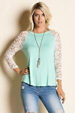 New Women's Junior's Mint Green Lace Sleeved Raglan Round Neck Top