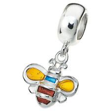 Sterling Silver Honey Bee Yellow Enamel Dangle Bead For European Charm Bracelets