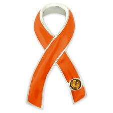 PinMart's Orange Awareness Ribbon with Rhinestone Enamel Lapel Pin
