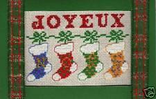 CARTE de VOEUX - KIT point de croix - JOYEUX NOËL bottes