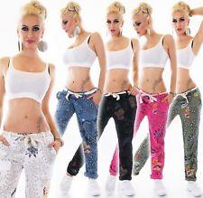 Italie Femmes léger été Pantalon décontracté confortable Mega imprimé lin