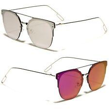 Flat Top Lightweight Round Mirror Sunglasses for Women and Men