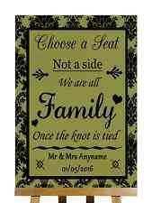 VERDE Oliva Nero scegliere sedile lato non tutte le famiglie Knot legato PERSONALIZZATO WEDDING segno