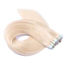 Tape In On - 60 WEISSBLOND - Hair Extensions Echthaar Strähnen Haarverlängerung