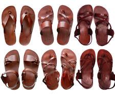 Brown Leather Roman Gladiator Jesus Sandals Strap Handmade US 5-12 EU 36-46