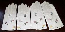 Vintage white kidskin leather Girls childrens gloves embroidered flowers formal