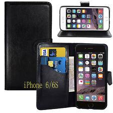 Ranura para Tarjetas estilo Billetera Negro Soporte Funda de gel para Apple iPhone 6/6S Reino Unido Envío Gratis