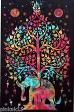 New Black Elephant Tree Life Hand Made Multi Use Bed Sheet Sofa Cover Wall Decor