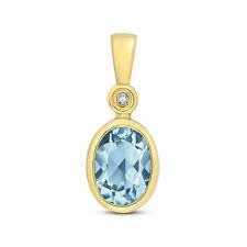 Il Topazio Blu E Diamante Ciondolo oro giallo blu svizzero ovale Collana valutazione