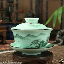 Longquan celadon gaiwan porcelain tea cup bowl fish design handpainted floral