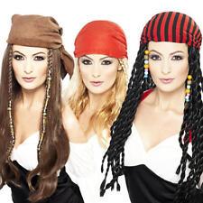 Pirate Lady Wig + Bandana Ladies Fancy Dress Pirates Womens Costume Accessory