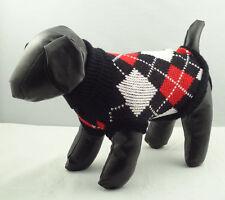 Dog Sweater Black Plaid Knitted Jacket Jumper Puppy Coat Chihuahua XS S M L XL