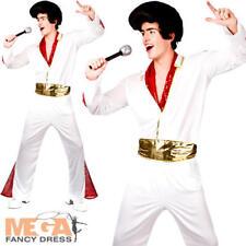Elvis Presley para Hombre Vestido ELEGANTE CELEBRITY Rock N Roll Rey Adultos Traje de Disfraz