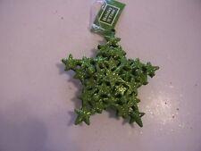 GREEN GLITTER SNOWFLAKE CHRISTMAS ORNAMENT DECORATION