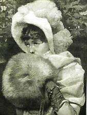 GIRL w/ FUR FLUFFY HAND MUFF 1885 Antique Print Matted