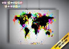 Poster La Carte du monde Noir Éclaboussure couleur peinture art