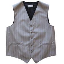 New men's tuxedo vest waistcoat only Stripes pattern GRAY prom wedding