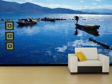 3D Lago Barca. Parete Murale Foto Carta da parati immagine sfondo muro stampa