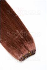 #33 kastanie 100% Echthaar Weft Haarverlängerung Extensions Echthaartresse Hair