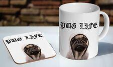 Pug Life Tea / Coffee Mug Coaster Gift Set