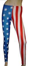 USA BANDIERA americanoa bianco STARS stripe leggings costume taglia 8-22