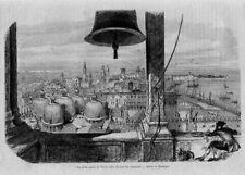 Stampa antica VENEZIA dall'alto del campanile  1859 Old Print VENICE