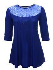 Womens Blue Sequin Lace Yoke Stretch Black Long Swing Tunic Top Mini Dress