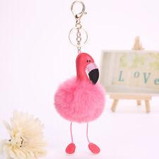 Flamingo Keychain Fluffy Artificial Fur Ball Key Chain Women Car Bag Key Ring