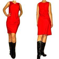 New $295 DKNY Donna Karan Draped Front Stretch Silk Bright Red Women/'s Dress 6