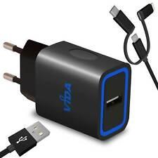 Compact Wall Charger European EU Plug and Cable Micro USB Lightning USB-C Type C