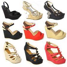 DONNE alto tacco medio plateau forma piatta cinturino alla caviglia zeppa scarpe
