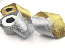 1 Yard Tape Metallic Ribbon Sari Border Crafting Lace Sew On Trim X 5.5CM
