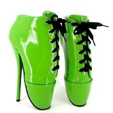 Ultra High Heel 18cm Wedges Heel Locked Padlocks Shiny Fetish Boots Size 36-46
