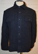Men's St. John's Bay Dark Navy Blue Full Zip Button Up Wool Blend Coat Sz Medium