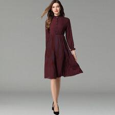 Elegante vestito abito marrone rosso maniche lungo scampanato  slim morbido 4298