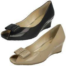 Ladies Nude Patent Leather Slip On Peep Toe Van Dal Wedge Shoes Pasadena
