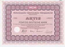 BRD Historisches Wertpapier Aktie WCM Württembergische Cattunmanufactur AG 50 DM