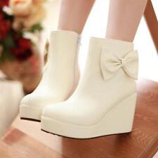 Stivaletti stivali scarpe donna zeppa 9 cm moda simil pelle comodi caldi  066