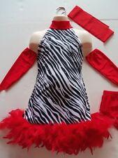 ICE SKATING DRESS Salsa Dance Zebra Print & Red Jazz Figure Skate Child S
