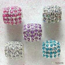 'DENSE CRYSTAL BARREL' Silver Plated Dense Crystal Barrel Bracelet Charm Bead